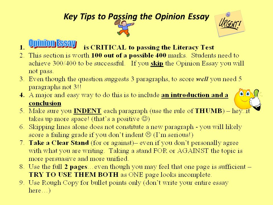 Class Activity Here is a pretty good example of an opinion essay.