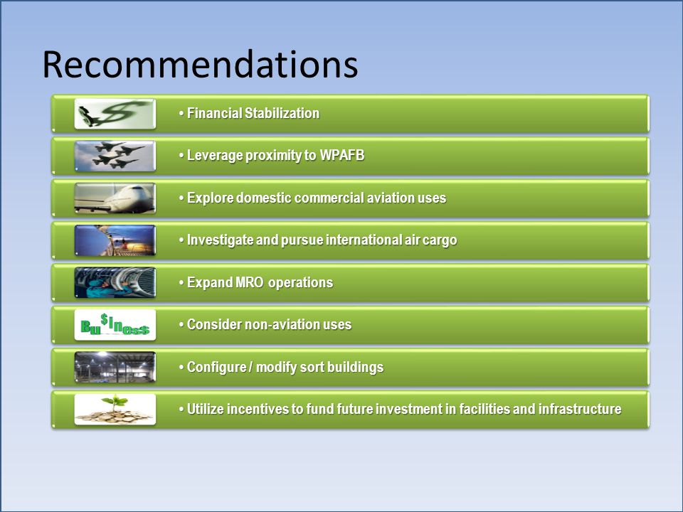 Recommendations Financial Stabilization Financial Stabilization Leverage proximity to WPAFB Leverage proximity to WPAFB Explore domestic commercial aviation uses Explore domestic commercial aviation uses Investigate and pursue international air cargo Investigate and pursue international air cargo Expand MRO operations Expand MRO operations Consider non-aviation uses Consider non-aviation uses Configure / modify sort buildings Configure / modify sort buildings Utilize incentives to fund future investment in facilities and infrastructure Utilize incentives to fund future investment in facilities and infrastructure