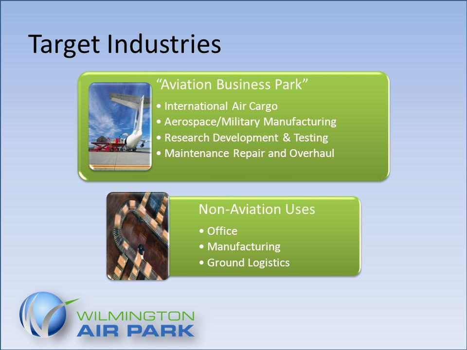 Target Industries Aviation Business Park International Air Cargo Aerospace/Military Manufacturing Research Development & Testing Maintenance Repair and Overhaul Non-Aviation Uses Office Manufacturing Ground Logistics