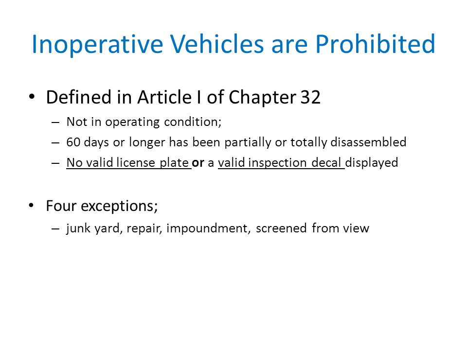 Inoperative Vehicles