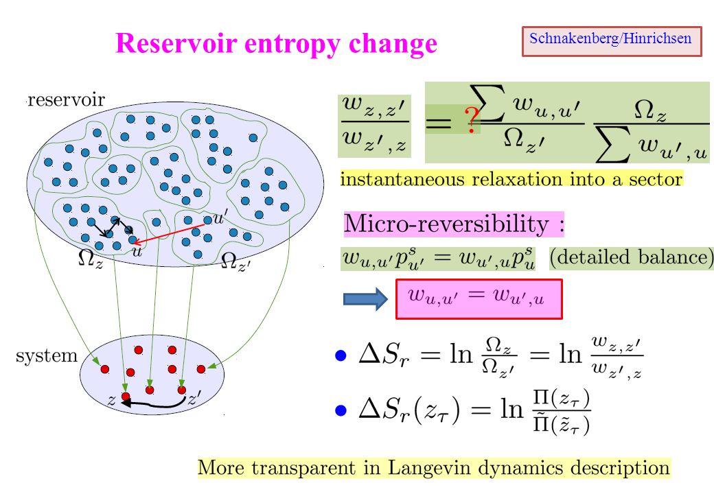 Reservoir entropy change Schnakenberg/Hinrichsen