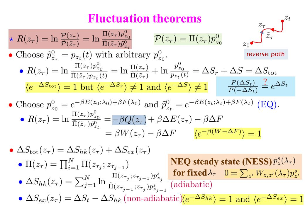 Fluctuation theorems NEQ steady state (NESS) for fixed reverse path