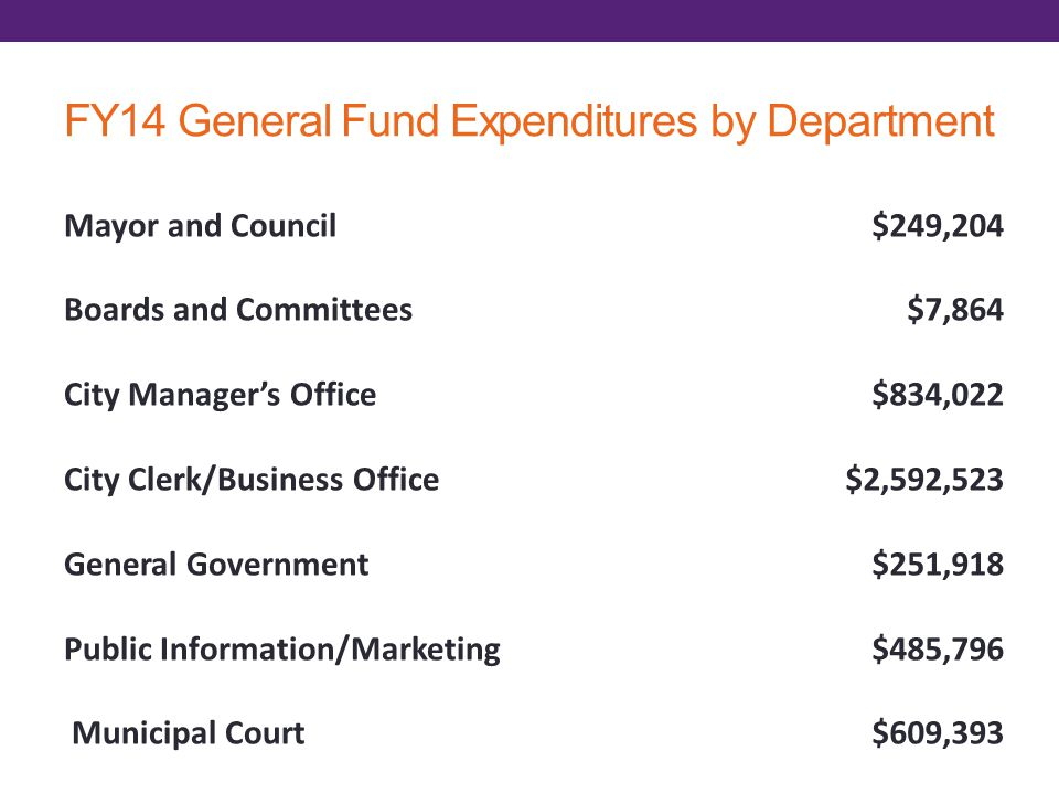 FY14 General Fund Expenditures by Department Mayor and Council Boards and Committees City Managers Office City Clerk/Business Office General Government Public Information/Marketing Municipal Court $249,204 $7,864 $834,022 $2,592,523 $251,918 $485,796 $609,393