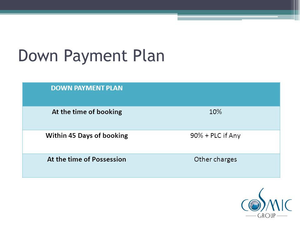 Flexi Payment Plan FLEXI PAYMENT PLAN At the time of booking10% Within 30 Days of booking40% + PLC if Any Within 180 to 365 days of booking25% Within 2 years25% At the time of PossessionOther charges