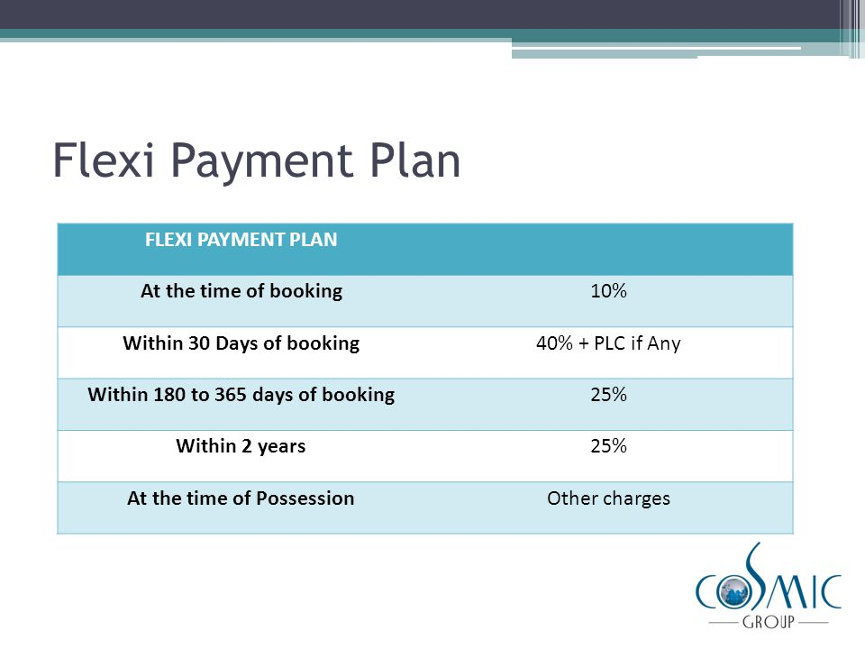 Construction Linked Payment Plan (CLP) CONSTRUCTION LINKED PAYMENT PLAN At the time of booking10% Within 30 Days of booking15% At the time of excavation10% + 50% PLC if any On Completion of Basement Roof10% On completion of First Floor roof10% + 50% PLC if any On completion of Second floor roof10% On completion of Third floor roof10% On completion of Fourth floor roof10% On completion of Sixth floor slab5% On completion of Flooring5% At the time of Possession5% Of Sale Value + Other Charges In case of CLP, Customer will get an additional discount of 5%, i.e.