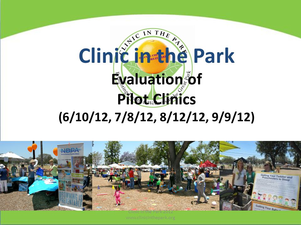 Sticker Booklet (for Evaluation) Clinic in the Park 2012 www.clinicinthepark.org