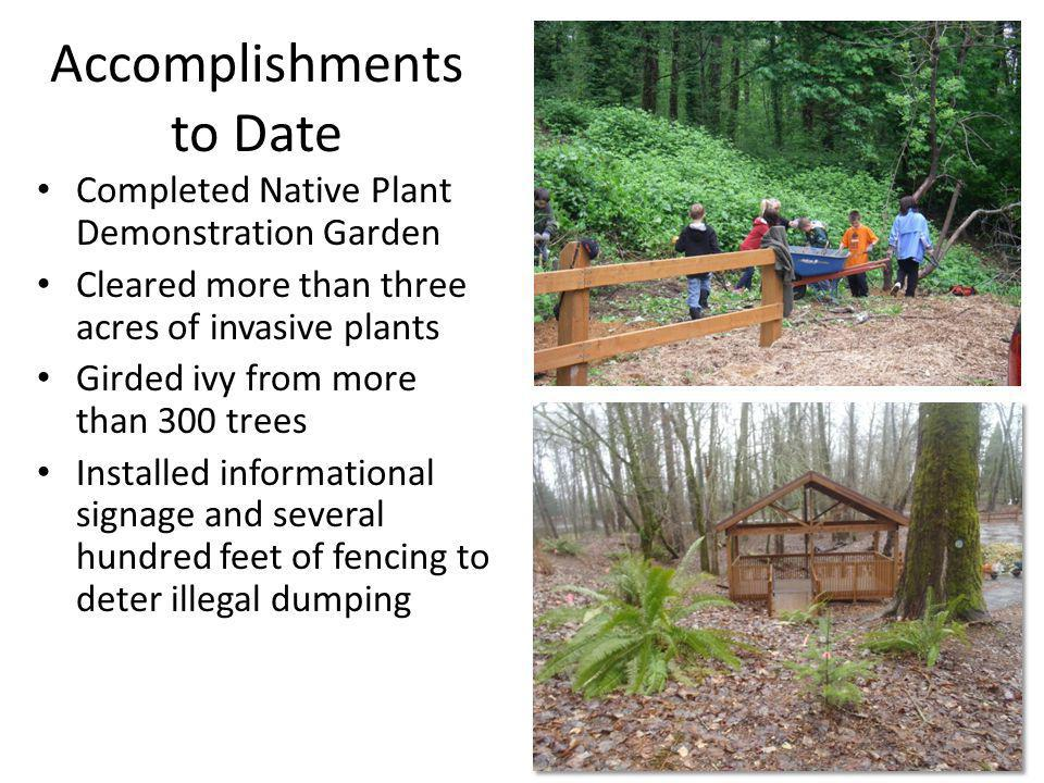Completed Native Plant Demonstration Garden Cleared more than three acres of invasive plants Girded ivy from more than 300 trees Installed informational signage and several hundred feet of fencing to deter illegal dumping Accomplishments to Date