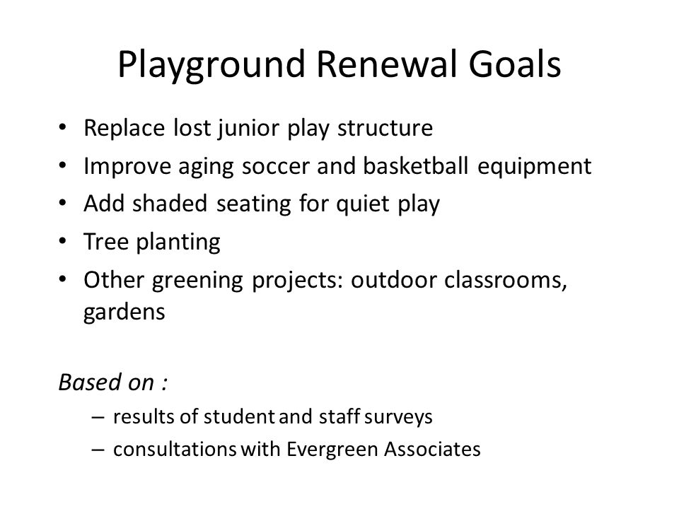 Planned play structure design Developed based on results of student surveys and voting