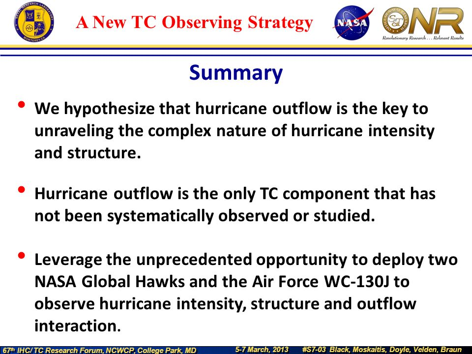 5-7 March, 2013 #S7-03 Black, Moskaitis, Doyle, Velden, Braun 67 th IHC/ TC Research Forum, NCWCP, College Park, MD A New TC Observing Strategy We hyp