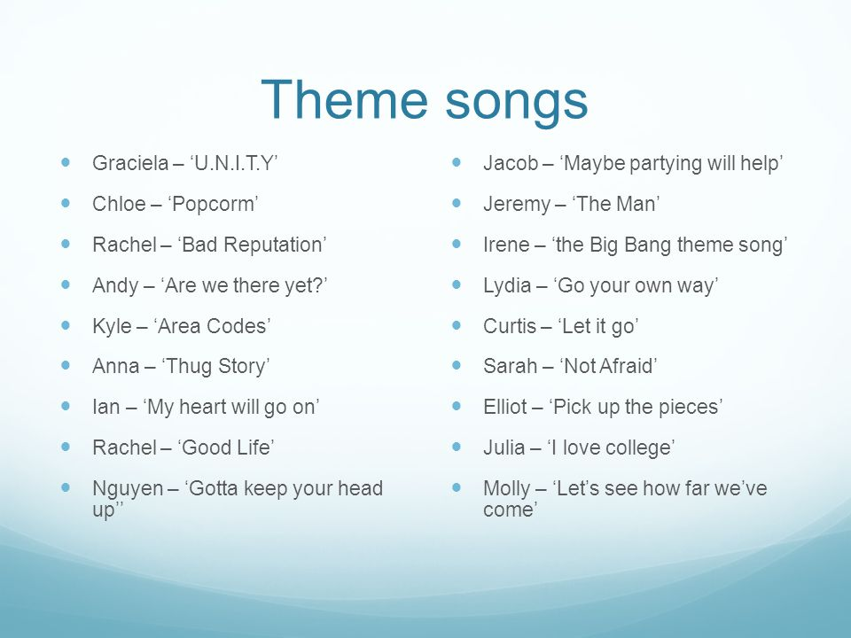 Theme songs Graciela – U.N.I.T.Y Chloe – Popcorm Rachel – Bad Reputation Andy – Are we there yet? Kyle – Area Codes Anna – Thug Story Ian – My heart w