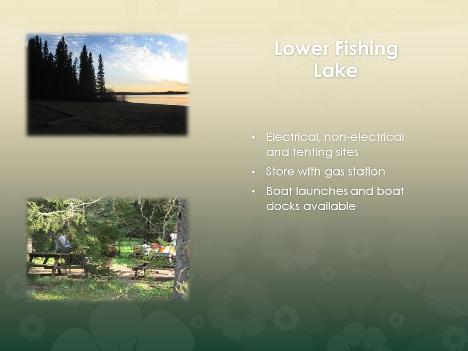 Lower Fishing Lake Electrical, non-electrical and tenting sites Electrical, non-electrical and tenting sites Store with gas station Store with gas station Boat launches and boat docks available Boat launches and boat docks available