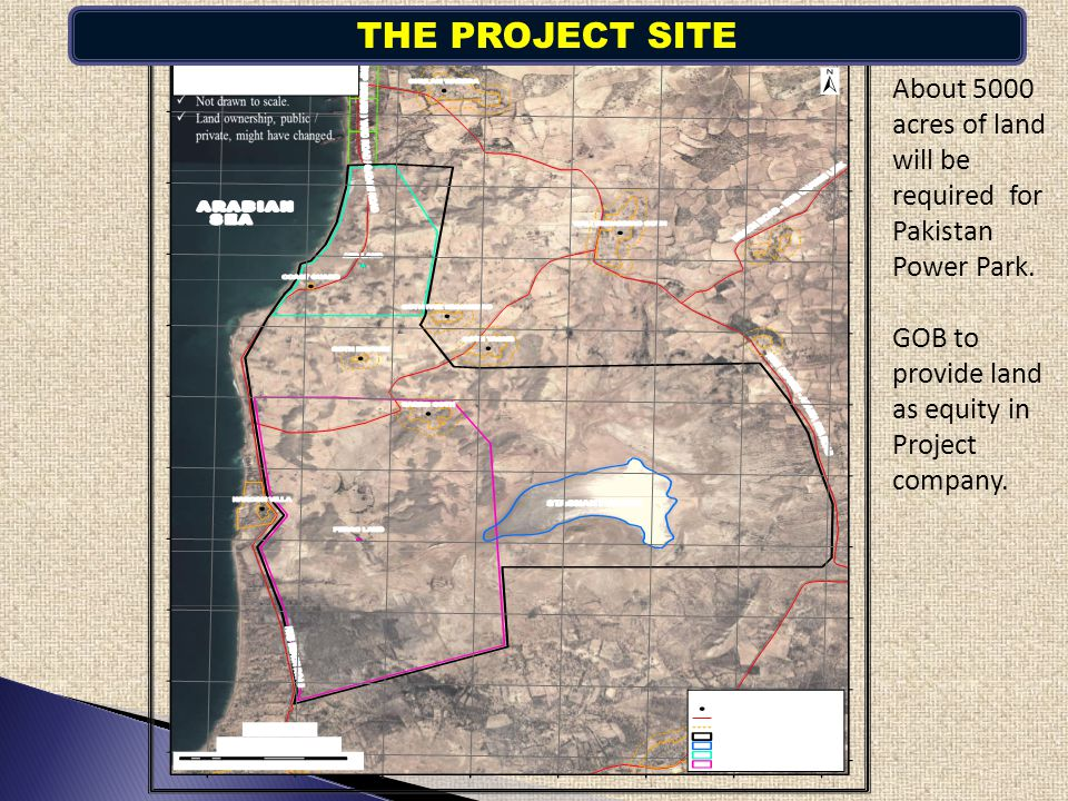 About 5000 acres of land will be required for Pakistan Power Park. GOB to provide land as equity in Project company. THE PROJECT SITE