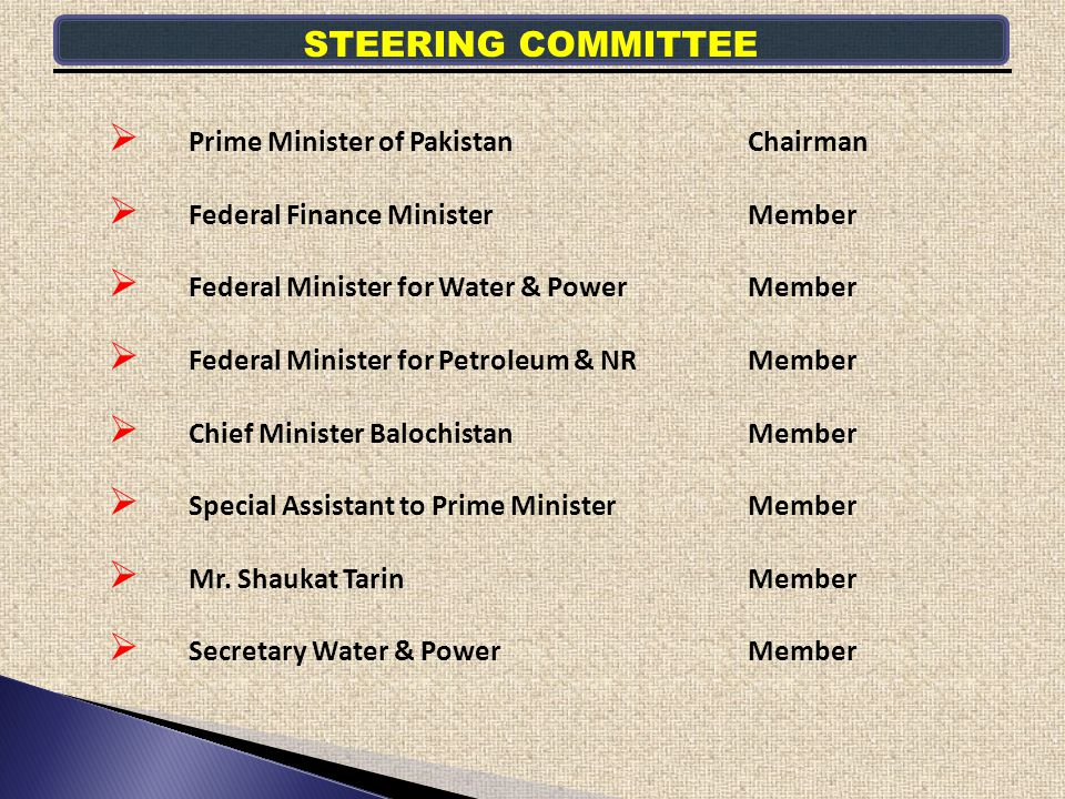Prime Minister of PakistanChairman Federal Finance Minister Member Federal Minister for Water & PowerMember Federal Minister for Petroleum & NRMember