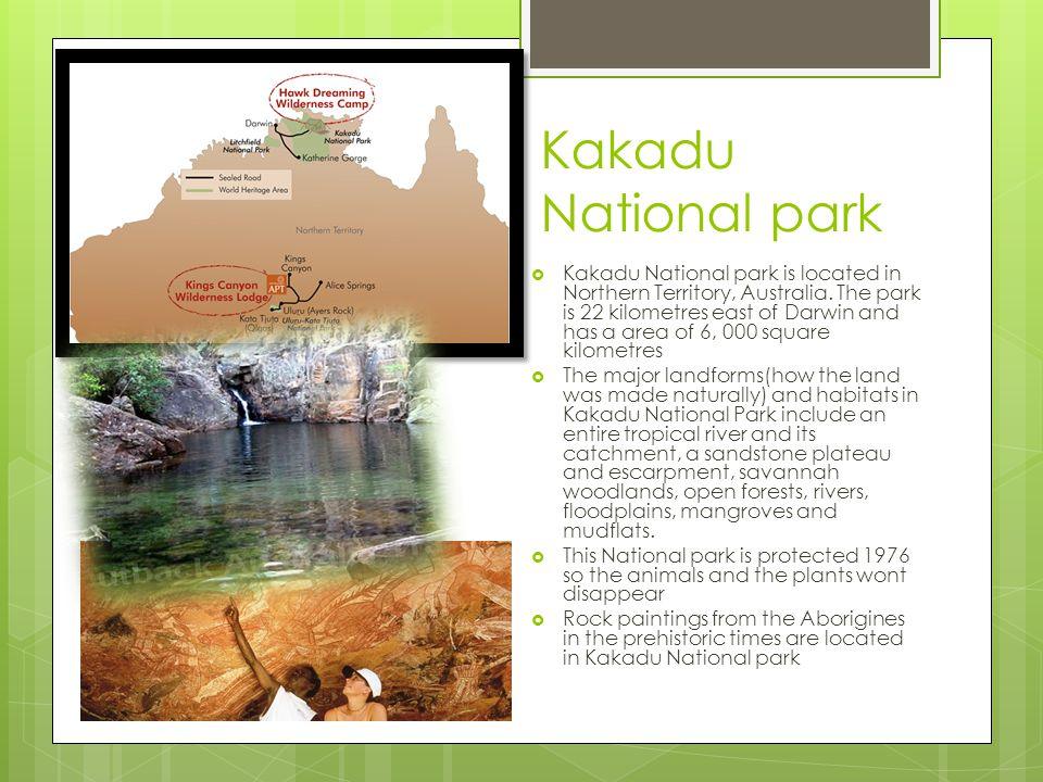 Kakadu National park Kakadu National park is located in Northern Territory, Australia. The park is 22 kilometres east of Darwin and has a area of 6, 0