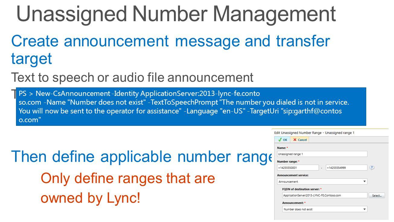PS > New-CsAnnouncement -Identity ApplicationServer:2013-lync-fe.conto so.com -Name