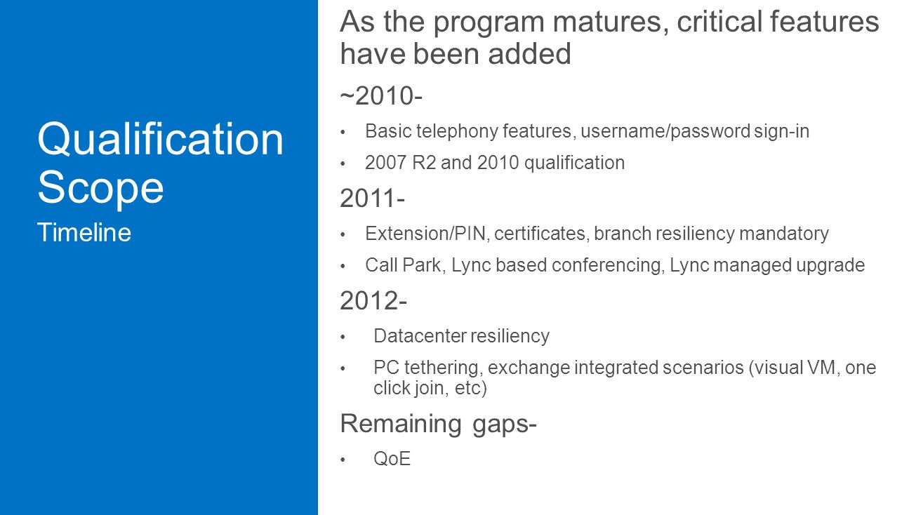 As the program matures, critical features have been added ~2010- Basic telephony features, username/password sign-in 2007 R2 and 2010 qualification 2011- Extension/PIN, certificates, branch resiliency mandatory Call Park, Lync based conferencing, Lync managed upgrade 2012- Datacenter resiliency PC tethering, exchange integrated scenarios (visual VM, one click join, etc) Remaining gaps- QoE