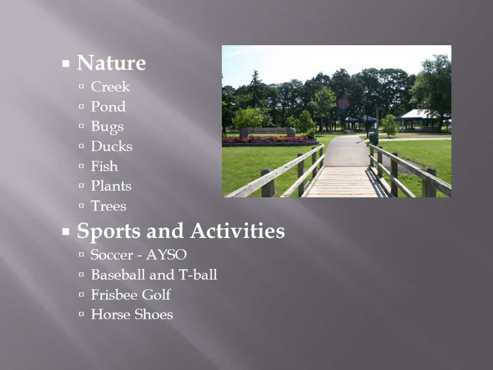 Nature Creek Pond Bugs Ducks Fish Plants Trees Sports and Activities Soccer - AYSO Baseball and T-ball Frisbee Golf Horse Shoes