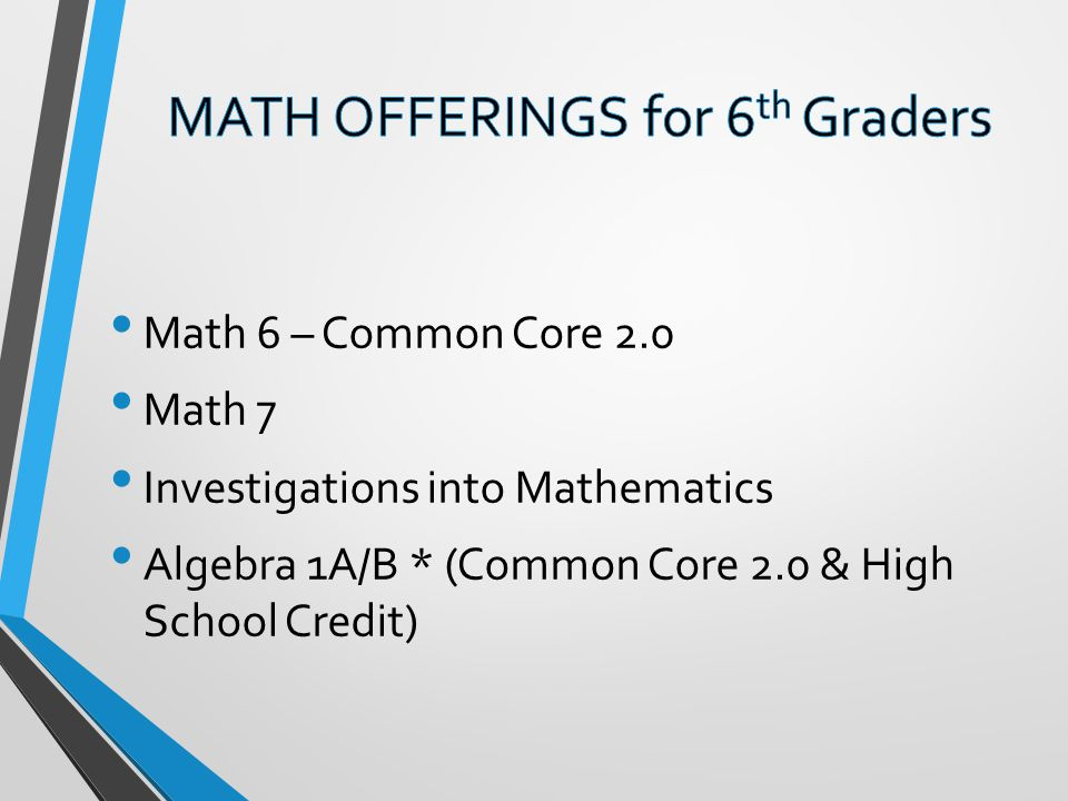 Math 6 – Common Core 2.0 Math 7 Investigations into Mathematics Algebra 1A/B * (Common Core 2.0 & High School Credit)