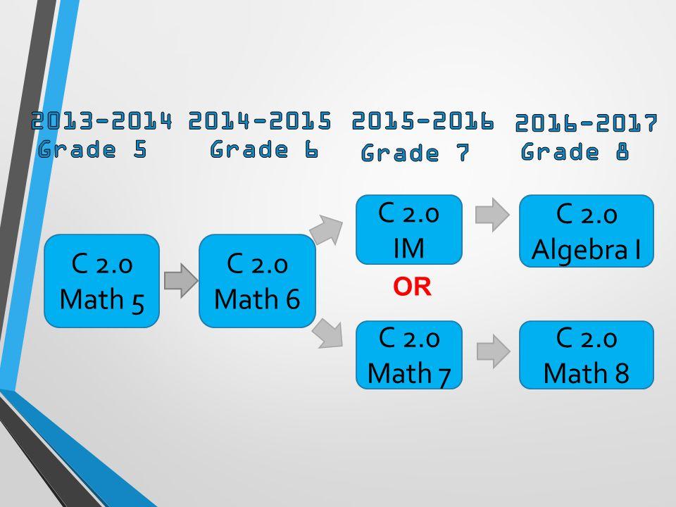 C 2.0 Math 5 C 2.0 Math 6 C 2.0 IM C 2.0 Algebra I C 2.0 Math 7 C 2.0 Math 8 OR