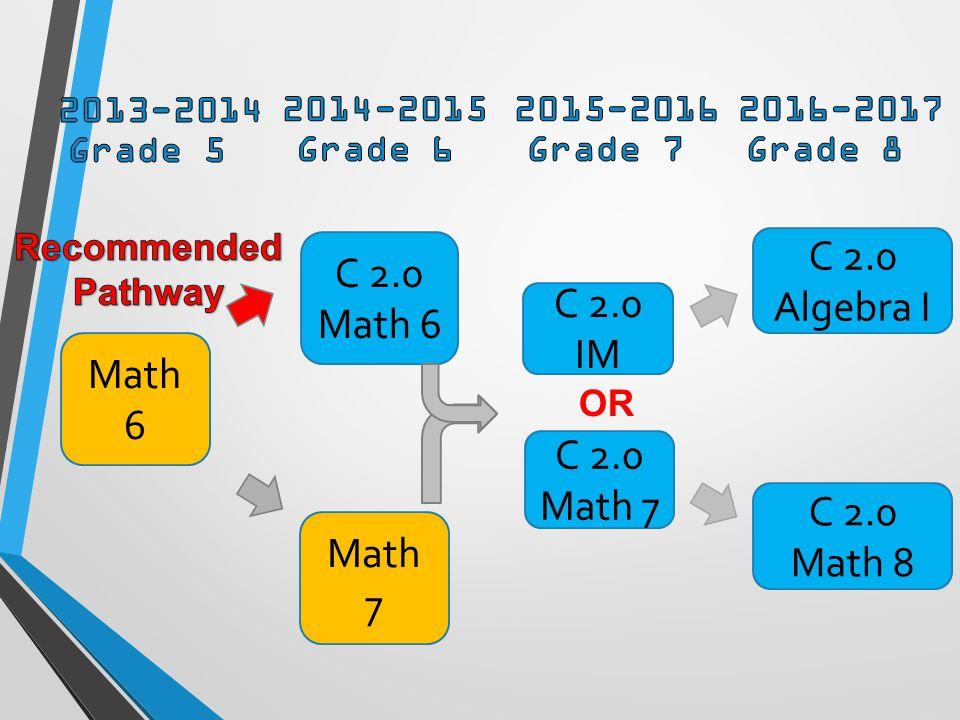C 2.0 Math 6 Math 6 Math 7 C 2.0 IM C 2.0 Math 7 C 2.0 Algebra I C 2.0 Math 8 OR