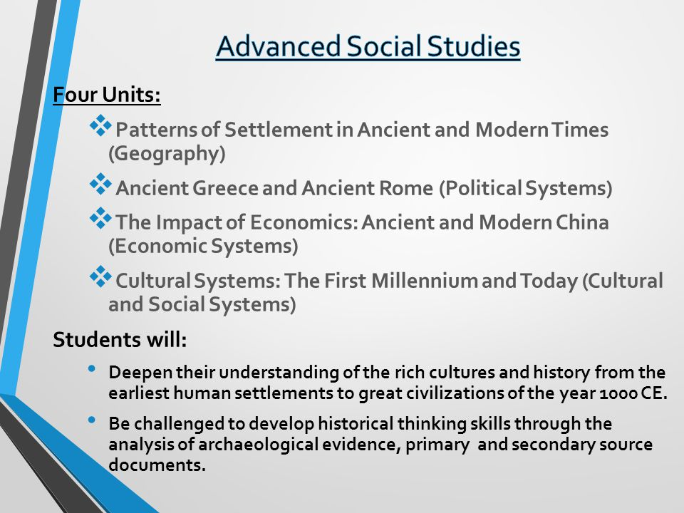 Four Units: Patterns of Settlement in Ancient and Modern Times (Geography) Ancient Greece and Ancient Rome (Political Systems) The Impact of Economics: Ancient and Modern China (Economic Systems) Cultural Systems: The First Millennium and Today (Cultural and Social Systems) Students will: Deepen their understanding of the rich cultures and history from the earliest human settlements to great civilizations of the year 1000 CE.