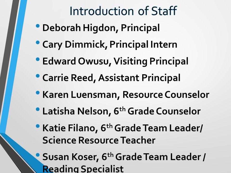 Deborah Higdon, Principal Cary Dimmick, Principal Intern Edward Owusu, Visiting Principal Carrie Reed, Assistant Principal Karen Luensman, Resource Co