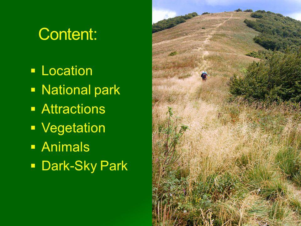 Content: Location National park Attractions Vegetation Animals Dark-Sky Park