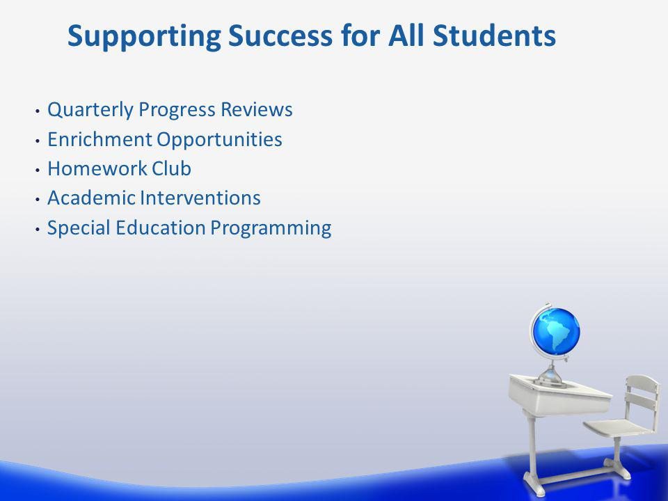 Quarterly Progress Reviews Enrichment Opportunities Homework Club Academic Interventions Special Education Programming Supporting Success for All Students