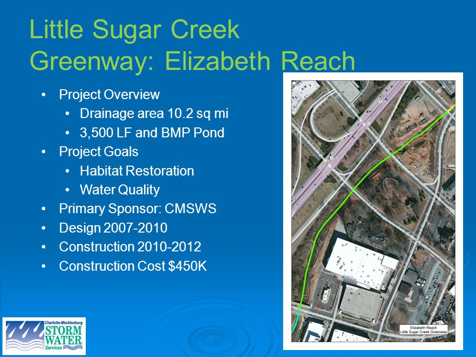 Little Sugar Creek Greenway: Elizabeth Reach Project Overview Drainage area 10.2 sq mi 3,500 LF and BMP Pond Project Goals Habitat Restoration Water Quality Primary Sponsor: CMSWS Design 2007-2010 Construction 2010-2012 Construction Cost $450K