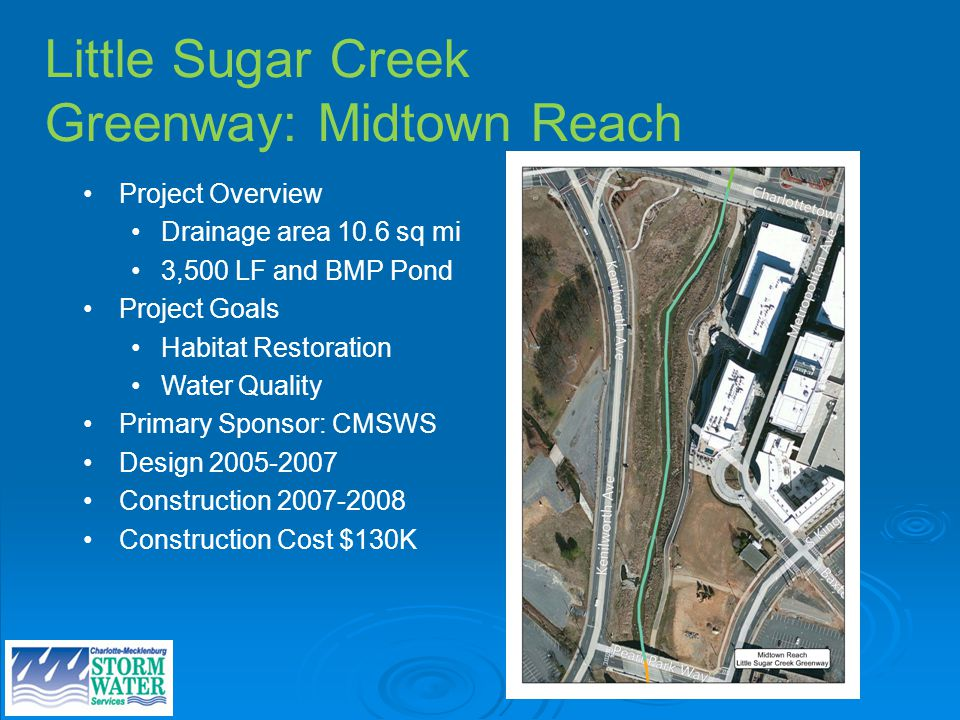 Little Sugar Creek Greenway: Midtown Reach Project Overview Drainage area 10.6 sq mi 3,500 LF and BMP Pond Project Goals Habitat Restoration Water Quality Primary Sponsor: CMSWS Design Construction Construction Cost $130K