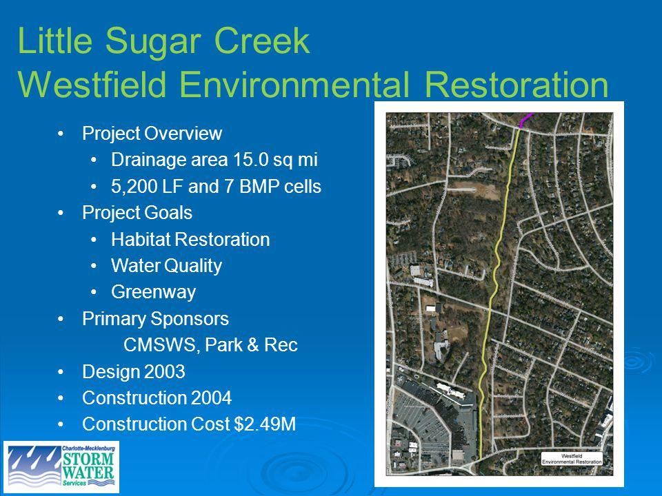 Little Sugar Creek Westfield Environmental Restoration Project Overview Drainage area 15.0 sq mi 5,200 LF and 7 BMP cells Project Goals Habitat Restor