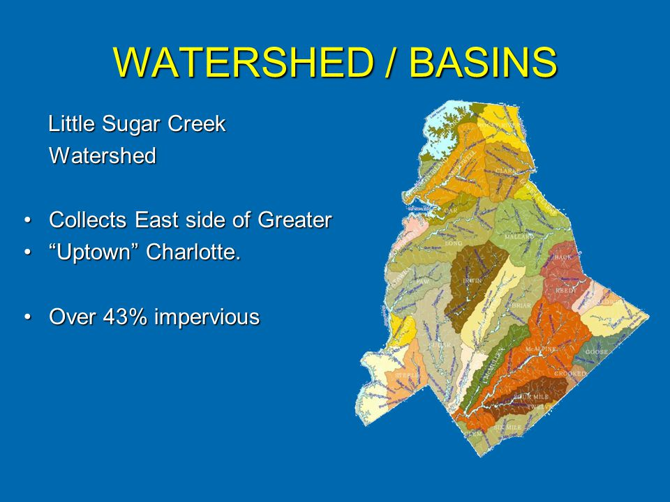 WATERSHED / BASINS Little Sugar Creek Little Sugar CreekWatershed Collects East side of GreaterCollects East side of Greater Uptown Charlotte.Uptown Charlotte.
