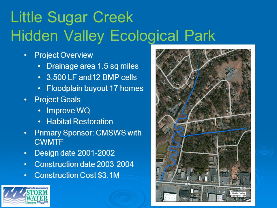 Little Sugar Creek Hidden Valley Ecological Park Project Overview Drainage area 1.5 sq miles 3,500 LF and12 BMP cells Floodplain buyout 17 homes Project Goals Improve WQ Habitat Restoration Primary Sponsor: CMSWS with CWMTF Design date Construction date Construction Cost $3.1M