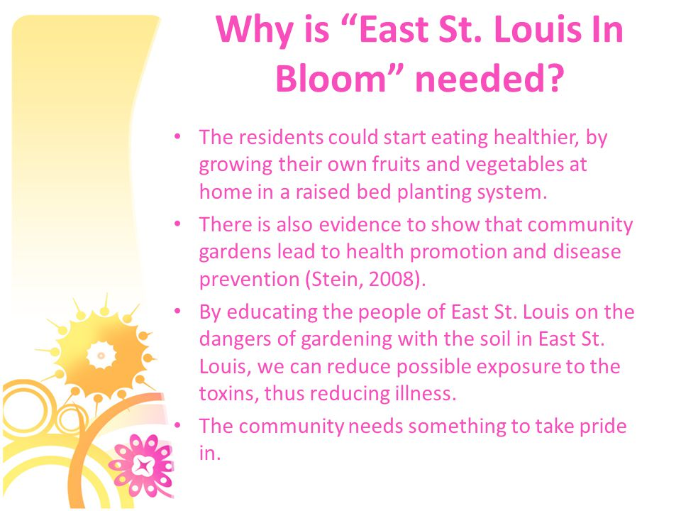 Why is East St. Louis In Bloom needed.