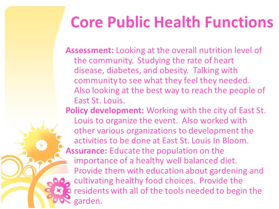 Core Public Health Functions Assessment: Looking at the overall nutrition level of the community.