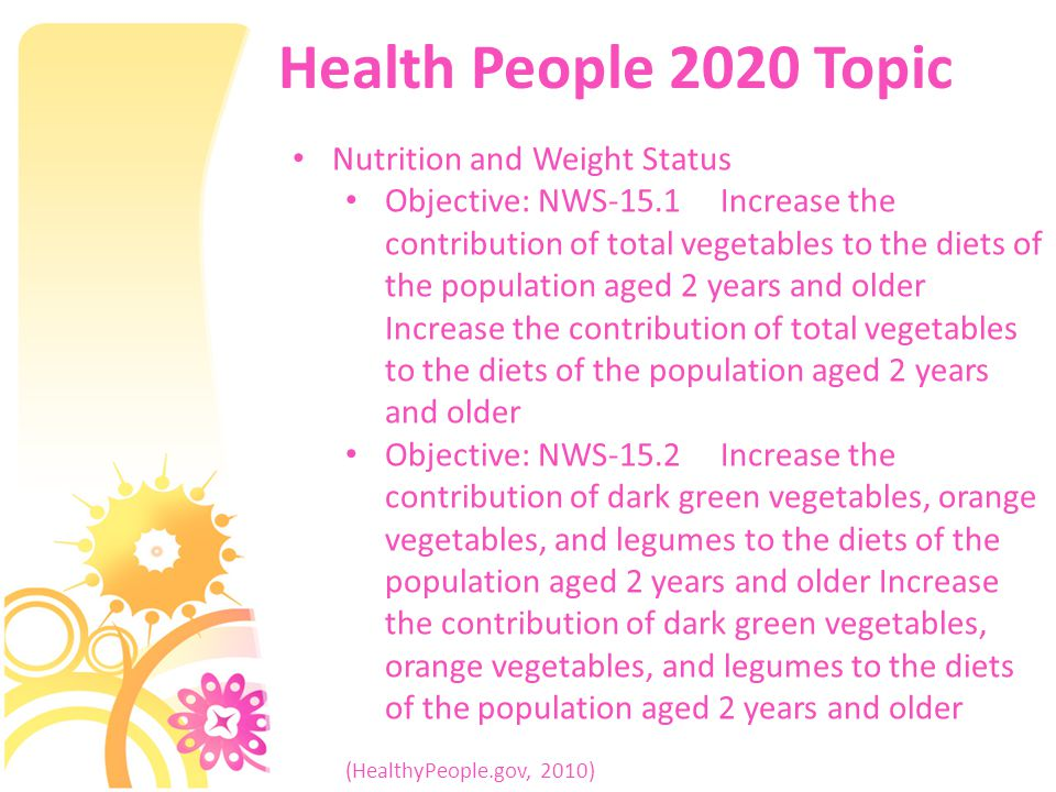 Health People 2020 Topic Nutrition and Weight Status Objective: NWS-15.1 Increase the contribution of total vegetables to the diets of the population aged 2 years and older Increase the contribution of total vegetables to the diets of the population aged 2 years and older Objective: NWS-15.2 Increase the contribution of dark green vegetables, orange vegetables, and legumes to the diets of the population aged 2 years and older Increase the contribution of dark green vegetables, orange vegetables, and legumes to the diets of the population aged 2 years and older (HealthyPeople.gov, 2010)