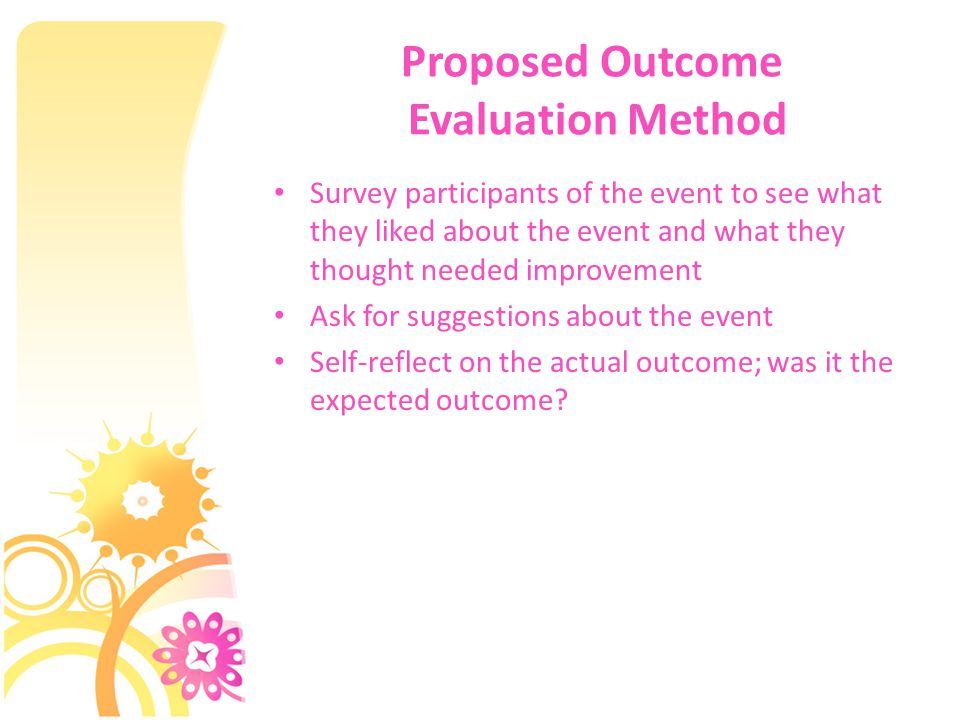 Proposed Outcome Evaluation Method Survey participants of the event to see what they liked about the event and what they thought needed improvement Ask for suggestions about the event Self-reflect on the actual outcome; was it the expected outcome