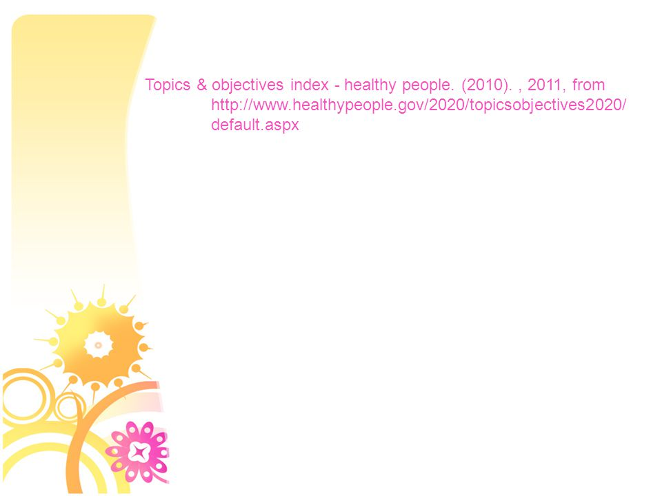 Topics & objectives index - healthy people.