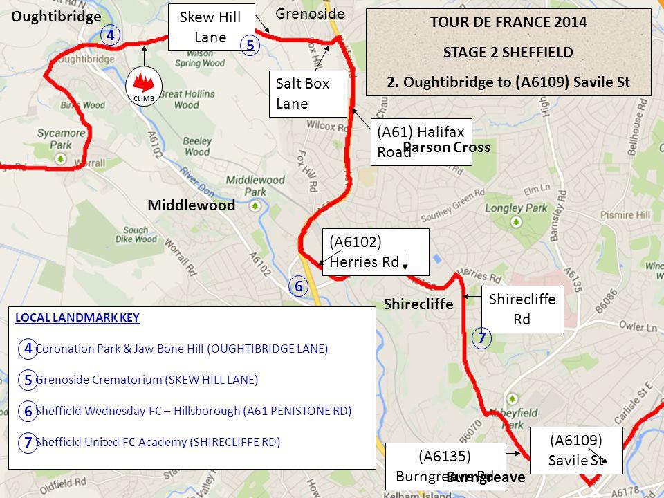 TOUR DE FRANCE 2014 STAGE 2 SHEFFIELD 2. Oughtibridge to (A6109) Savile St Oughtibridge Grenoside Skew Hill Lane (A61) Halifax Road Salt Box Lane (A61
