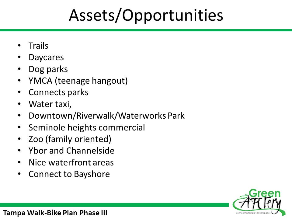 Tampa Walk-Bike Plan Phase III Assets/Opportunities Trails Daycares Dog parks YMCA (teenage hangout) Connects parks Water taxi, Downtown/Riverwalk/Wat