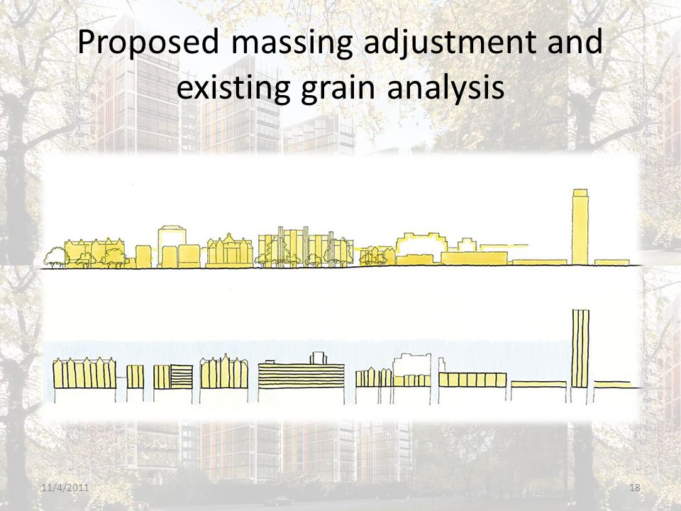 Proposed massing adjustment and existing grain analysis 11/4/201118