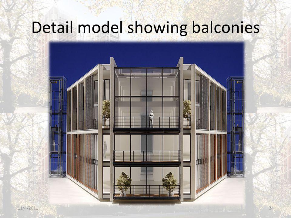 Detail model showing balconies 11/4/201134