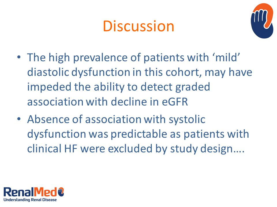 Discussion The high prevalence of patients with mild diastolic dysfunction in this cohort, may have impeded the ability to detect graded association w
