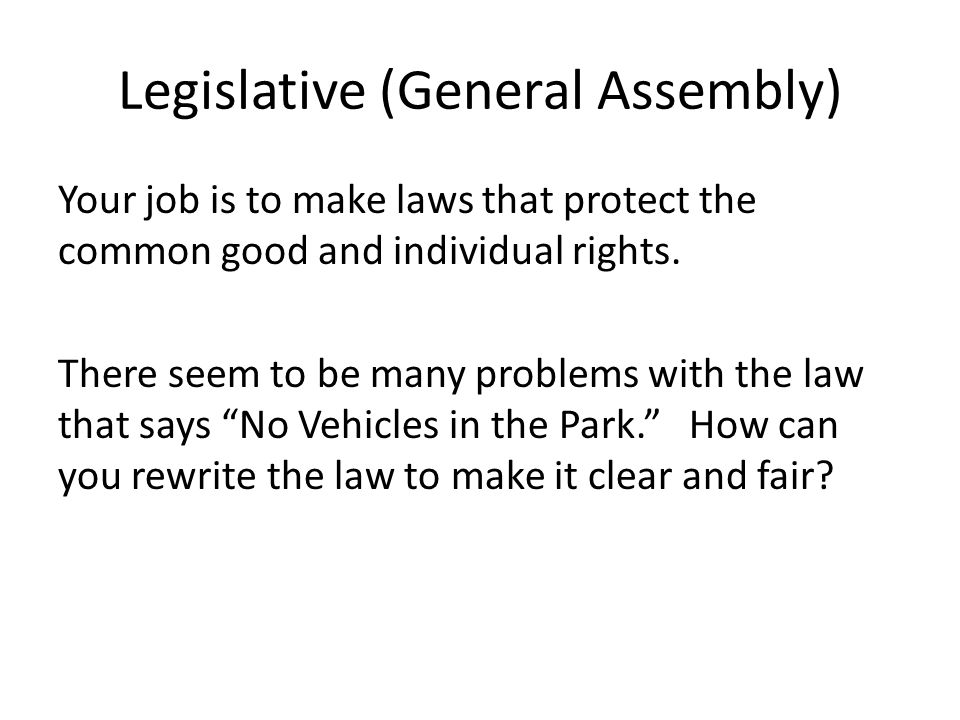 Legislative (General Assembly) Your job is to make laws that protect the common good and individual rights.
