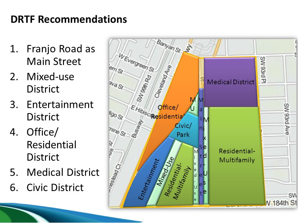 DRTF Recommendations 1.Franjo Road as Main Street 2.Mixed-use District 3.Entertainment District 4.Office/ Residential District 5.Medical District 6.Ci