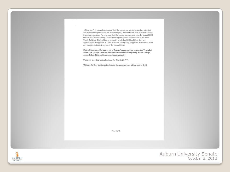 Auburn University Senate October 2, 2012