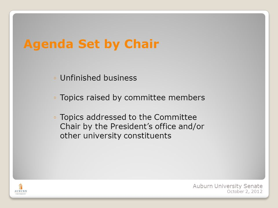 Auburn University Senate October 2, 2012 Unfinished business Topics raised by committee members Topics addressed to the Committee Chair by the Preside