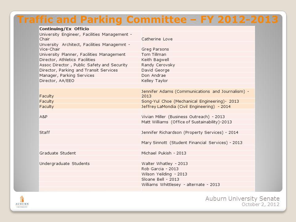 Auburn University Senate October 2, 2012 Traffic and Parking Committee – FY 2012-2013 Continuing/Ex Officio University Engineer, Facilities Management