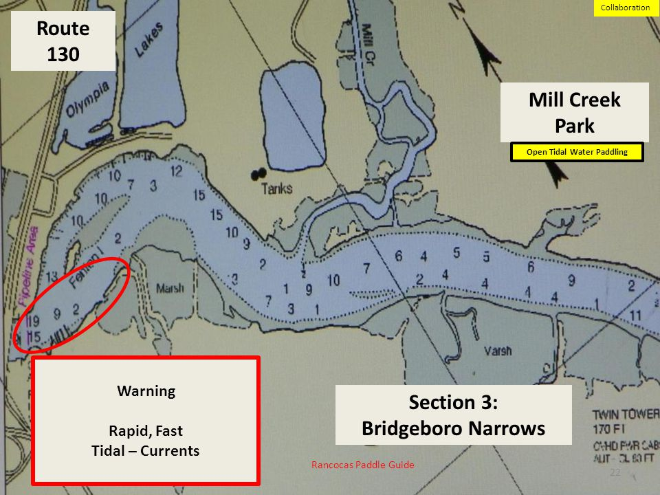 Route 130 Section 3: Bridgeboro Narrows Warning Rapid, Fast Tidal – Currents Mill Creek Park Open Tidal Water Paddling 22 Rancocas Paddle Guide Suppor