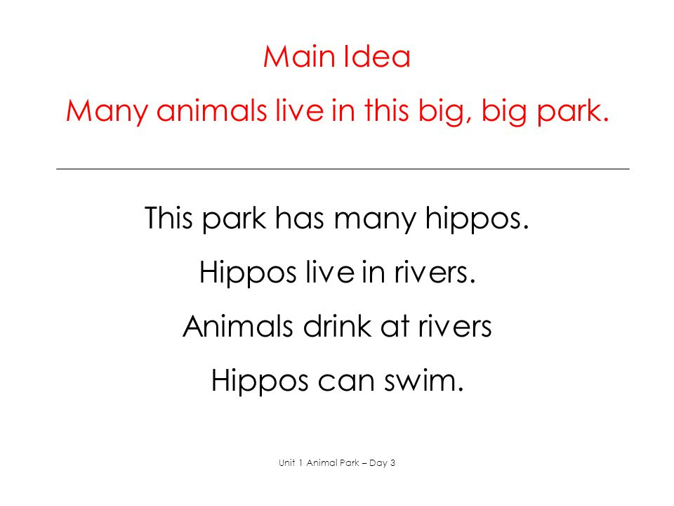 Daily Journal Writing Write about your favorite wild animal. Unit 1 Animal Park – Day 3